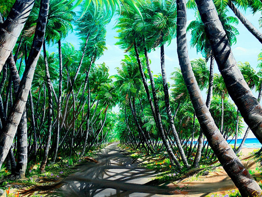 Coconut Trees Painting - Manzanilla Coconut Estate by Karin  Dawn Kelshall- Best