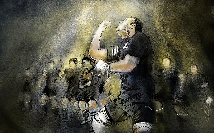 All Blacks Painting - Maori Haka by Miki De Goodaboom