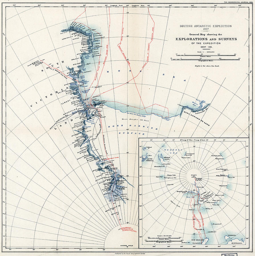 1907 Painting - Map Antarctica, 1909 by Granger
