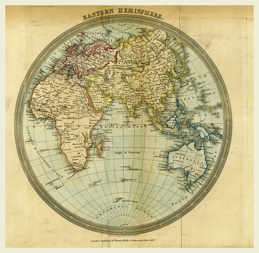 Map Eastern Hemisphere Drawing by Litz Collection
