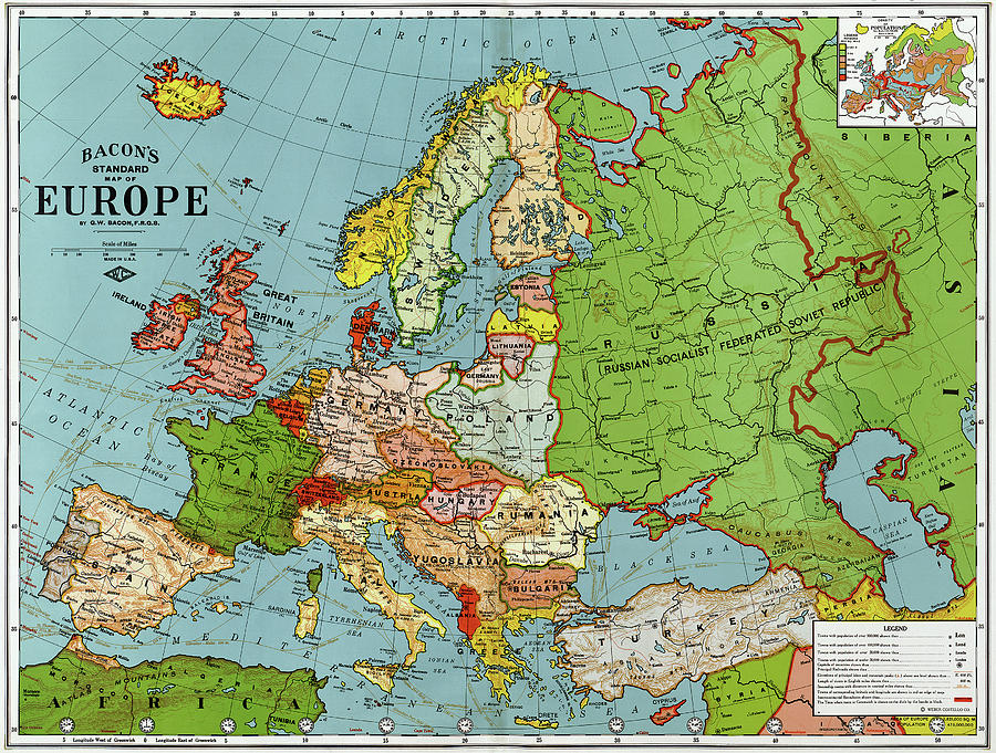 Map Europe, 1920 Painting by Granger