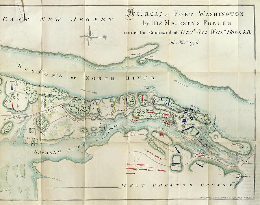 Fort Washington Map.Map Fort Washington 1776 Painting By Granger
