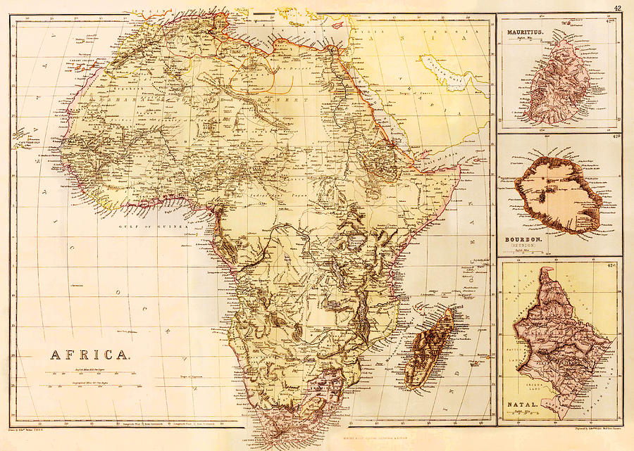 Map Of Africa 1850.Map Of Africa C 1850 Photograph By Science Source