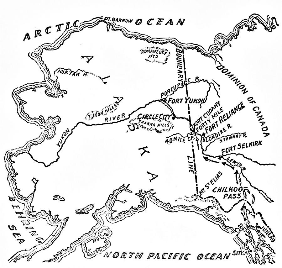 Map Of Alaskan And Yukon Gold Mines Drawing By