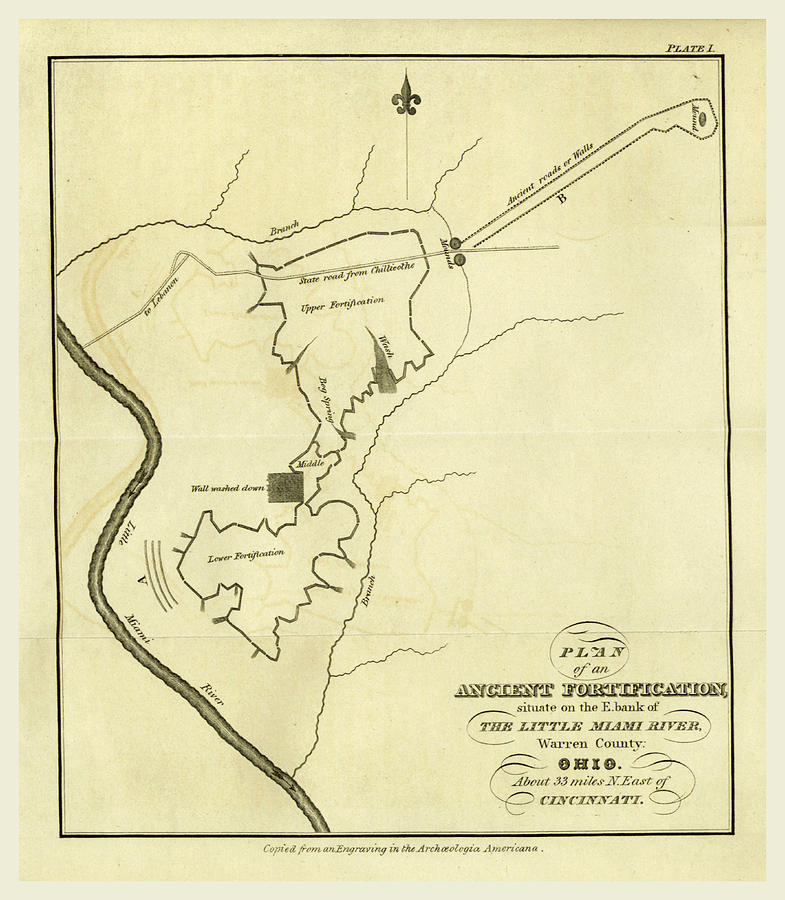 Map Drawing - Map Of An Ancient Fortification On The Bank Of The Little by Litz Collection