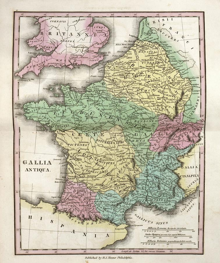 Gaul World Map.Map Of Ancient Gaul Photograph By Library Of Congress Geography And