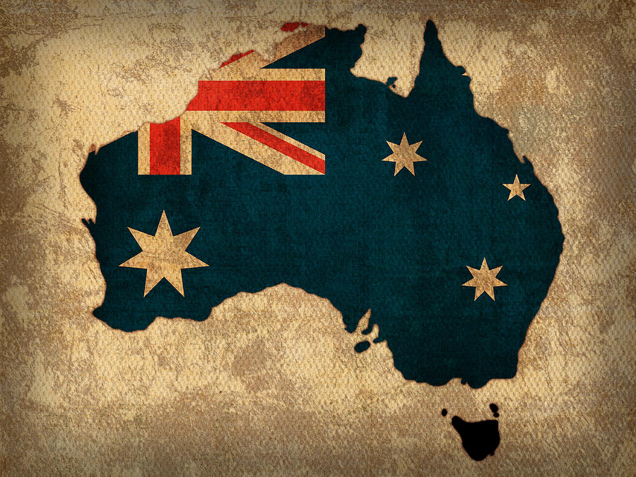 Australia Map Art.Map Of Australia With Flag Art On Distressed Worn Canvas By Design Turnpike