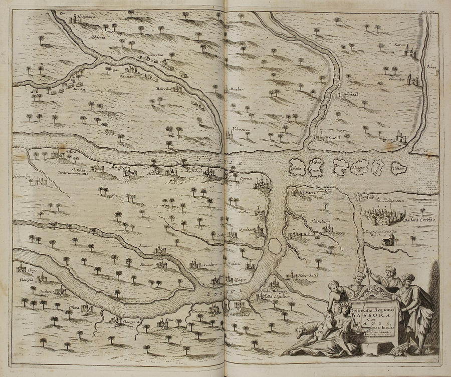 cartography photograph map of basra al basrah in the 17th cent by british