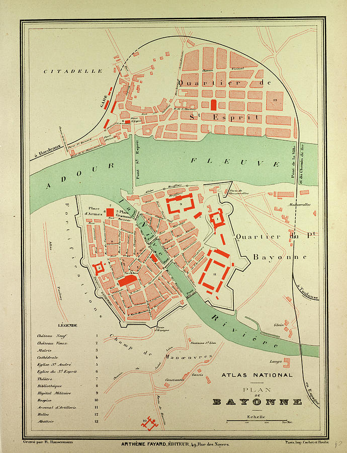 Map Of Bayonne France Drawing by French School