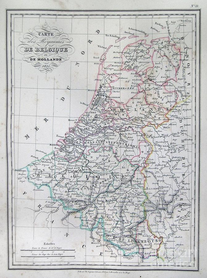 Abstract Photograph - Map Of Belgium And Holland Or The Netherlands by Paul Fearn