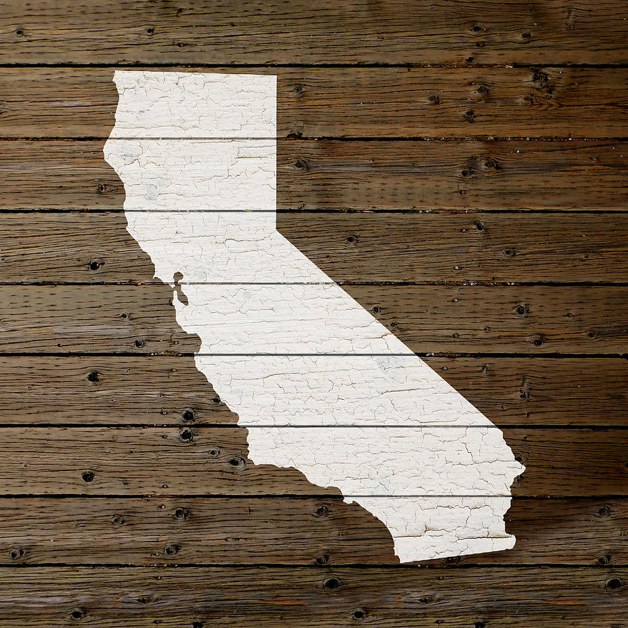 Reclaimed Flooring California: Map Of California State Outline White Distressed Paint On