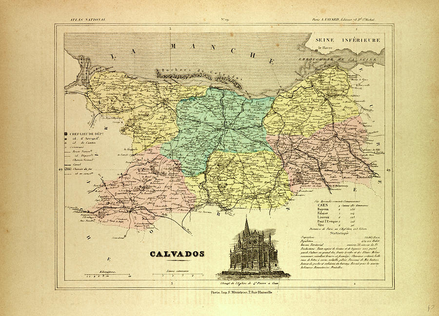 Map Of Calvados France Drawing by French School