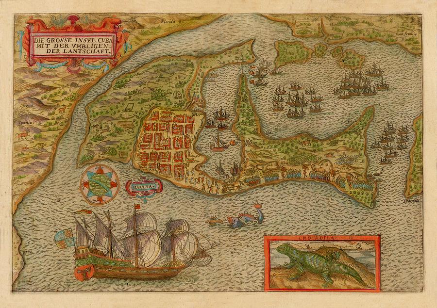 Map Of Cuba 1596 Photograph