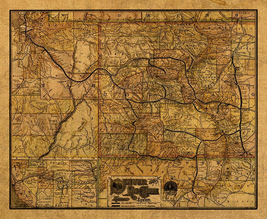 Map Of Denver Rio Grande Railroad System Including New Mexico - 1889 us railroad map