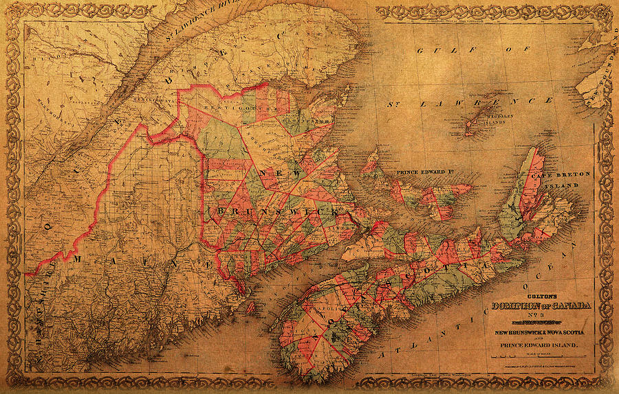Map of eastern canada provinces vintage atlas on worn canvas mixed map mixed media map of eastern canada provinces vintage atlas on worn canvas by design gumiabroncs Image collections