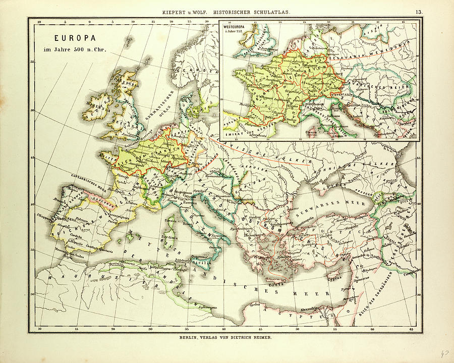 Map Of Europe In 500 A D Drawing By English School