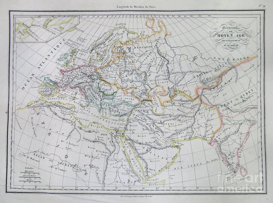 Abstract Photograph - Map Of Europe In The Middle Ages by Paul Fearn