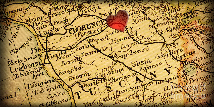 Map Of Florence Tuscany Italy Europe In A Antique Distressed Vin - Map tuscany