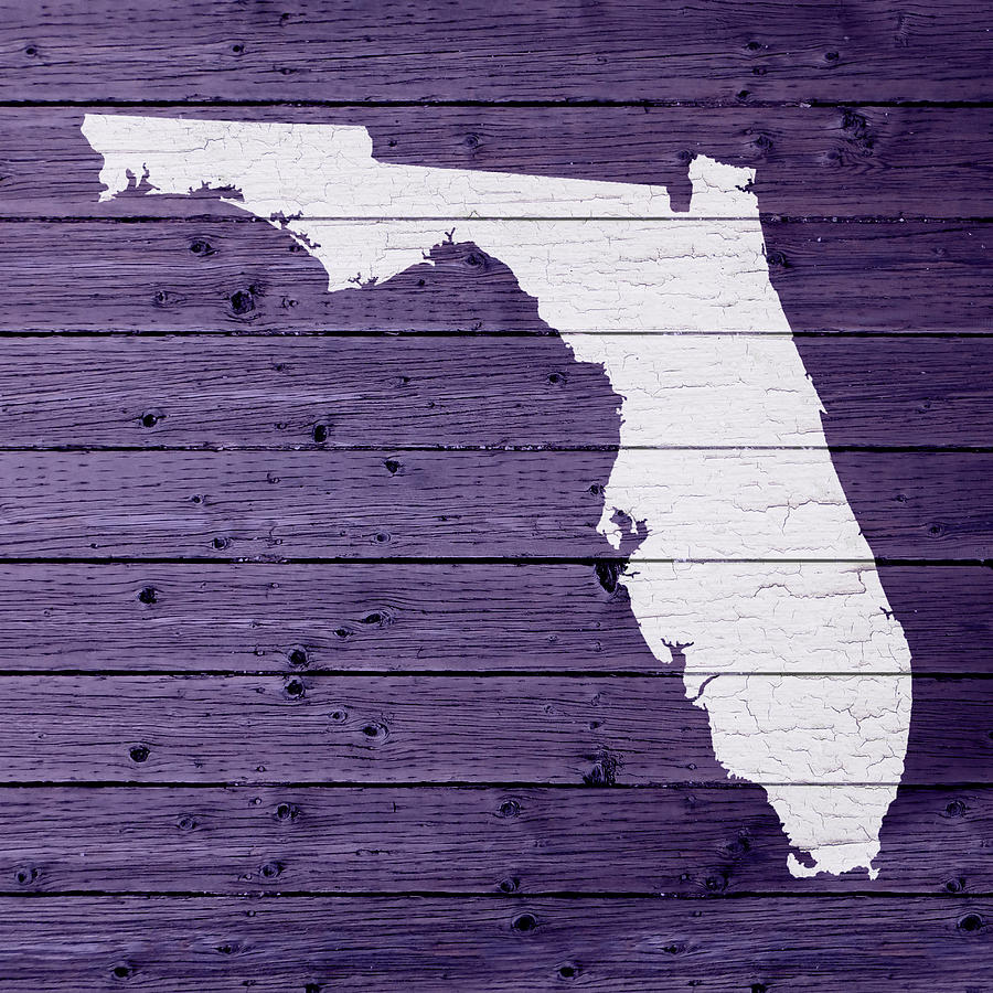 Florida Map Outline.Map Of Florida State Outline White Distressed Paint On Reclaimed