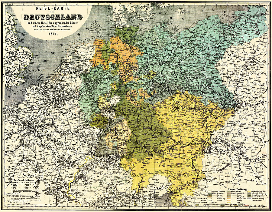 Map Of Germany Mountains.Map Of Germany 1861 By Mountain Dreams