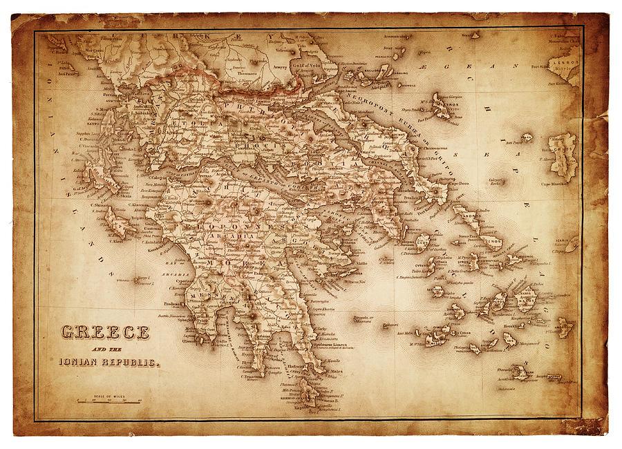 Map Of Greece 1854 Digital Art by Thepalmer