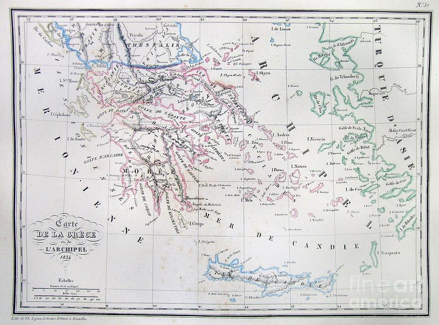 Abstract Photograph - Map Of Greece by Paul Fearn