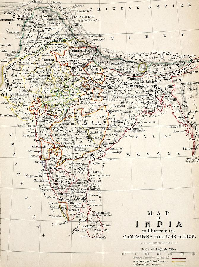 Map Drawing - Map Of India by Alexander Keith Johnson
