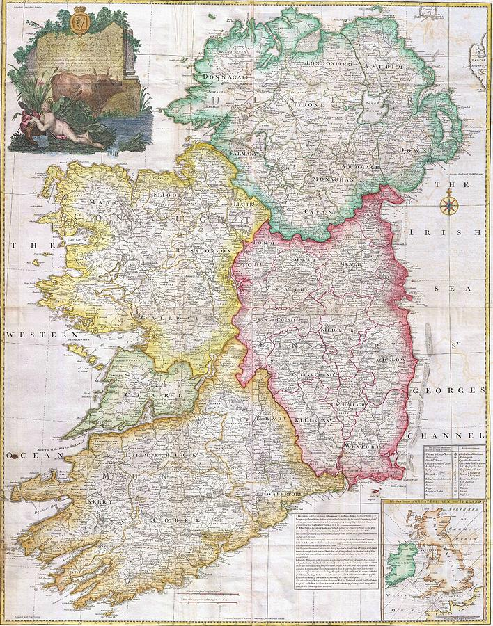 Pd Painting - Map Of Ireland  1794 by Pg Reproductions