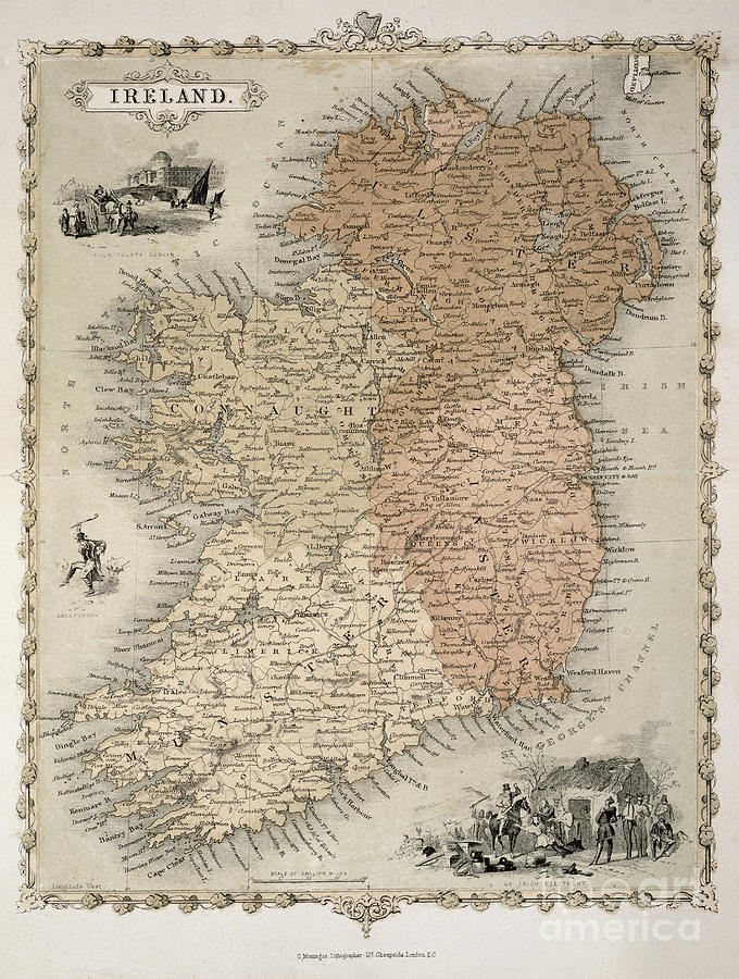 Eire Painting - Map Of Ireland by C Montague