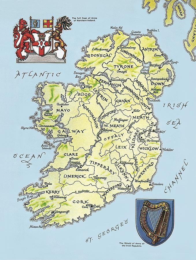 Republic Painting - Map Of Ireland by English School