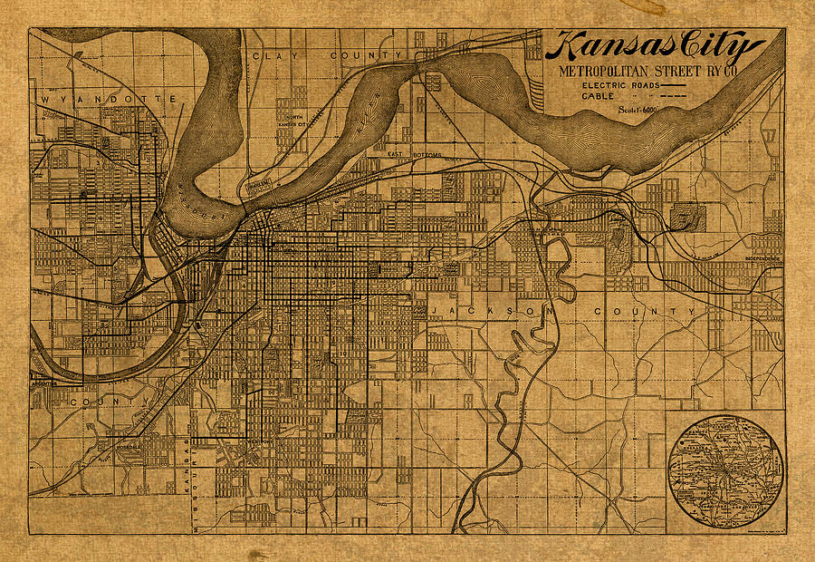 Map Of Kansas City Missouri Vintage Old Street Cartography On Worn ...