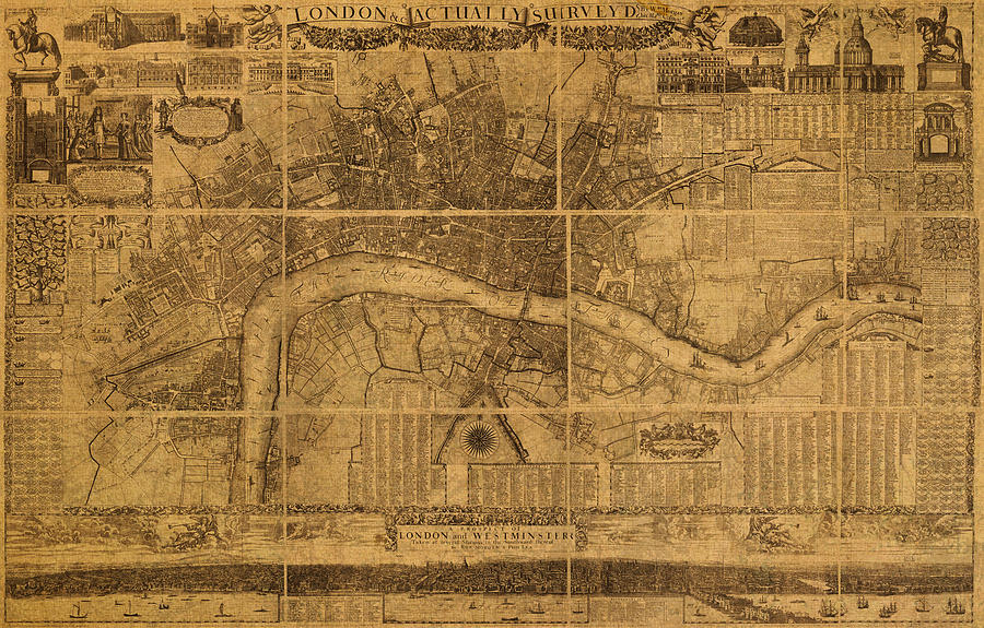 Map Of London England Old Parchment Circa 1905 Mixed Media ...