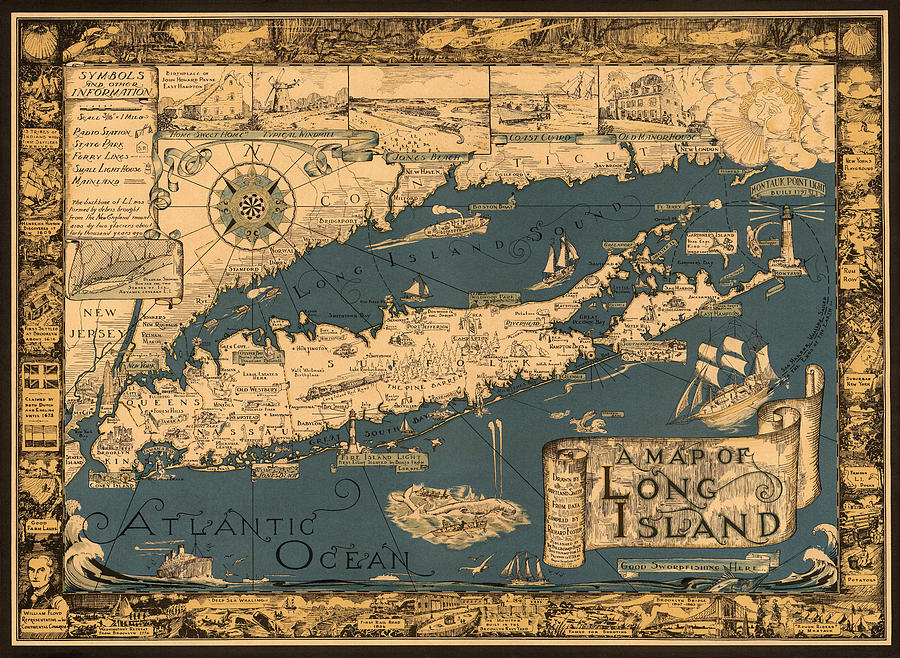 Long Island Photograph - Map Of Long Island by Andrew Fare