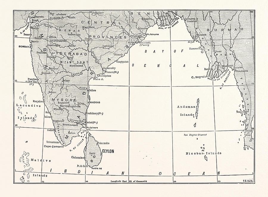 Map Of Lower India And Ceylon by Sri Lankan School