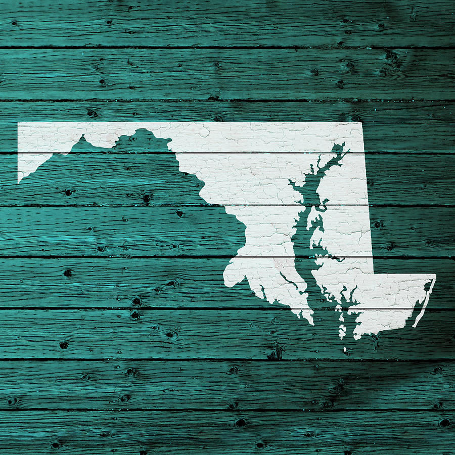 Outline Of Maryland Mixed Media - Map Of Maryland State Outline White  Distressed Paint On Reclaimed - Map Of Maryland State Outline White Distressed Paint On Reclaimed