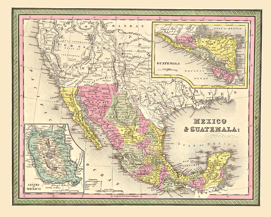 Vintage Digital Art - Map Of Mexico by Gary Grayson