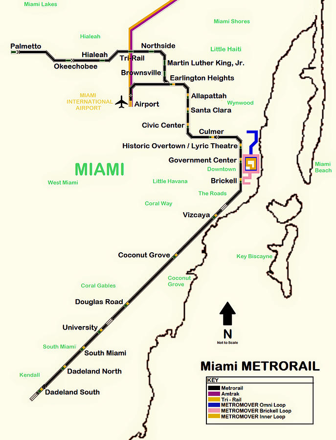 Map Of Miami Metro Rail Photograph by Mountain Dreams Miami Metrorail Map on