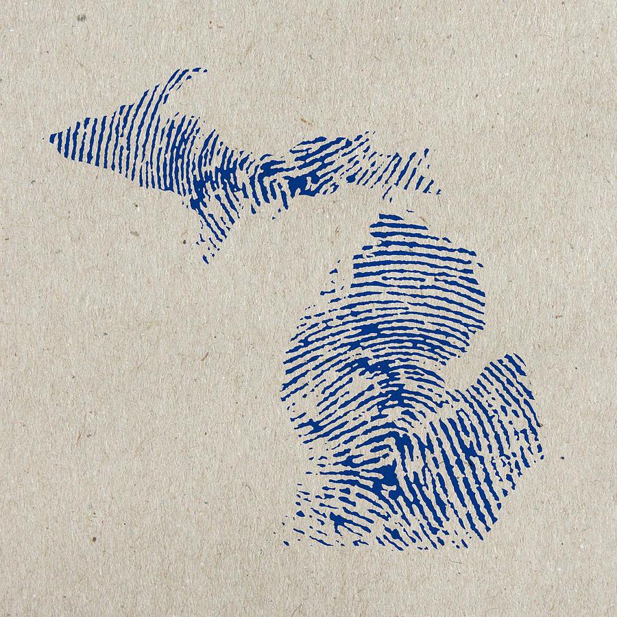 Map Of Michigan Great Lake State Fingerprint Art Mixed Media By Design Turnpike