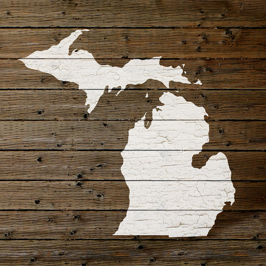 Michigan State Outline Mixed Media - Map Of Michigan State Outline White  Distressed Paint On Reclaimed - Map Of Michigan State Outline White Distressed Paint On Reclaimed