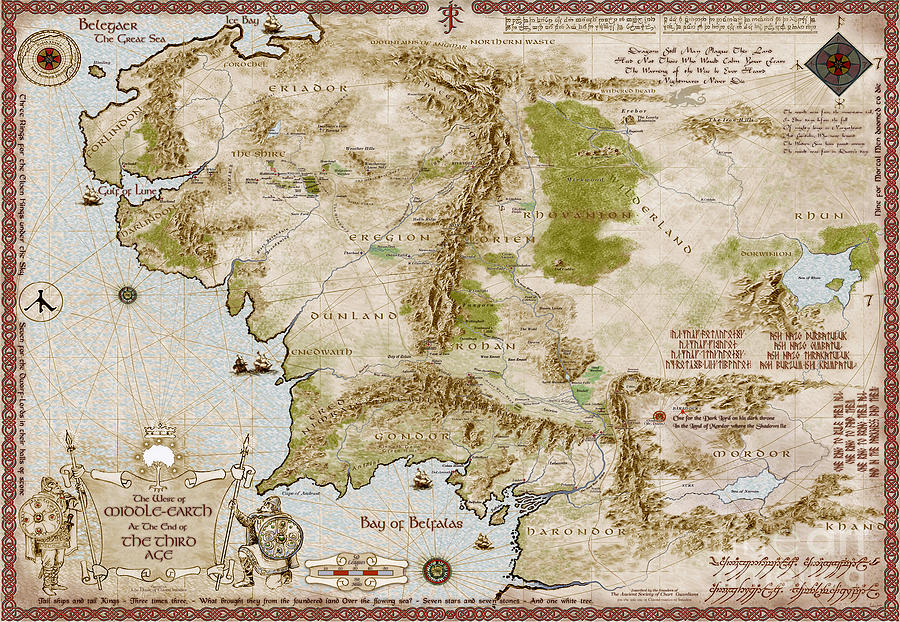 map of middle earth digital art by anthony forster