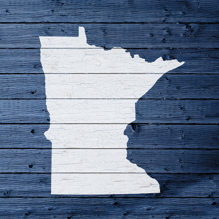 Minnesota Shape Mixed Media - Map Of Minnesota State Outline White  Distressed Paint On Reclaimed Wood - Map Of Minnesota State Outline White Distressed Paint On Reclaimed