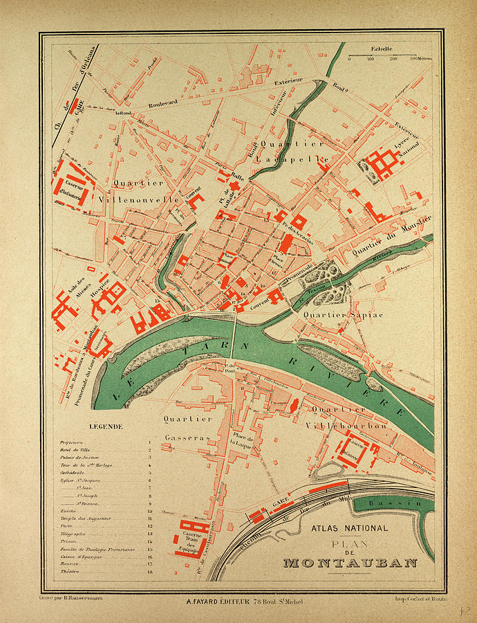 Map Of Montauban France Drawing by French School