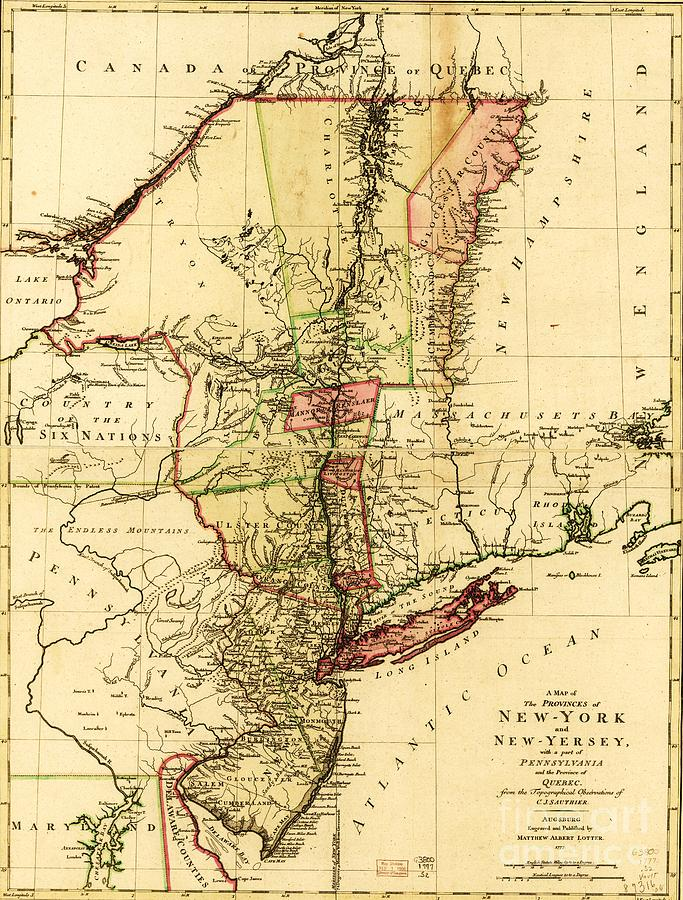 Reproduction Drawing - Map Of New York And New Jersey by Pg Reproductions