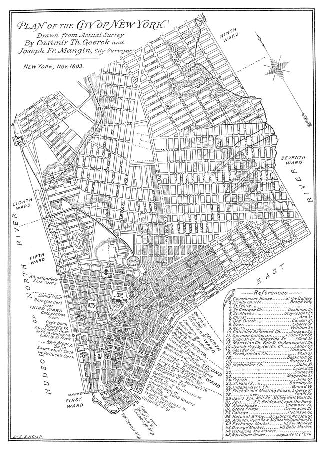 1803 Photograph - Map Of New York City, 1803 by Granger