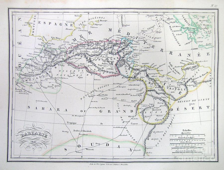 Abstract Photograph - Map Of North Africa Or Barbary by Paul Fearn