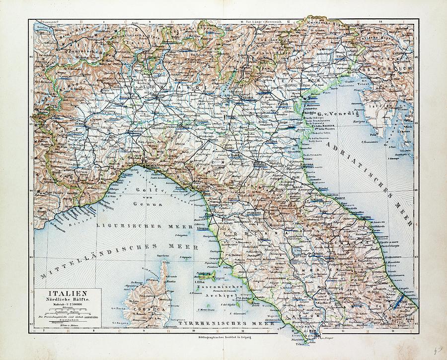 Map Of North Italy.Map Of North Italy 1899 By Italian School