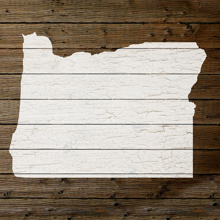 Map Of Oregon State Outline White Distressed Paint On