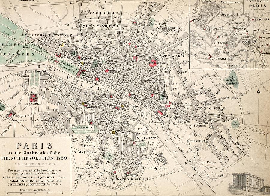 Maps Drawing - Map Of Paris At The Outbreak Of The French Revolution by French School