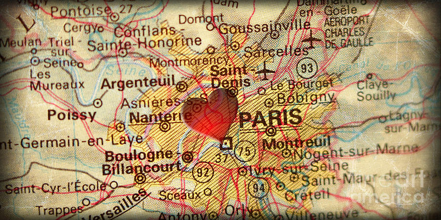 Paris On Europe Map.Map Of Paris France Europe In A Antique Distressed Vintage Grung