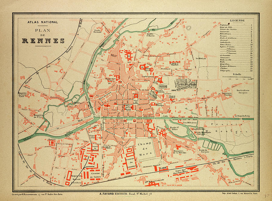 Rennes Map Of France.Map Of Rennes France By French School